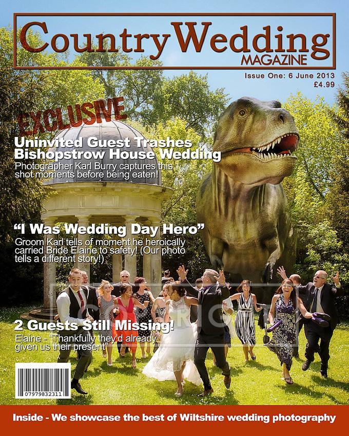 T Rex in Bishopstrow House Wedding Photography, Warminster, Wiltshire